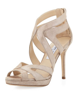 Jimmy Choo Karla Crisscross Leather Sandal, Sand
