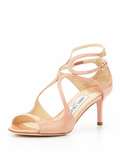 Jimmy Choo Lila Patent Crisscross Sandal, Blush