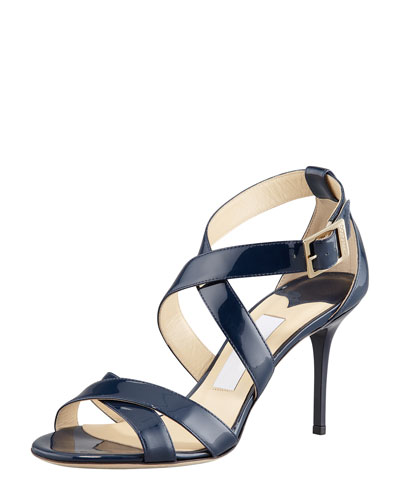 Louise Crisscross Patent Leather Sandal, Navy