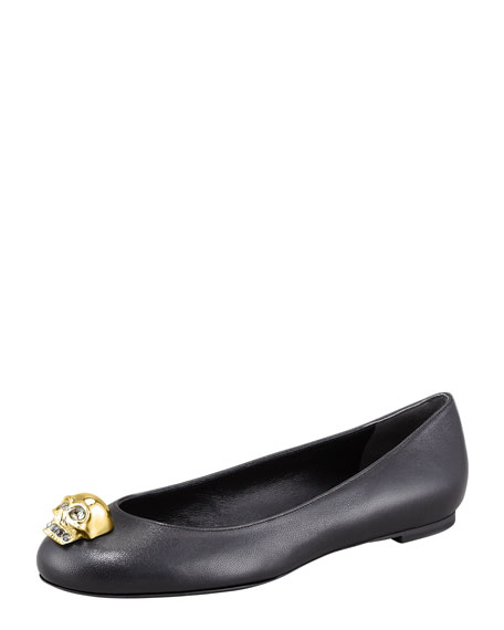 Skull-Toe Ballerina Flat, Black/Golden