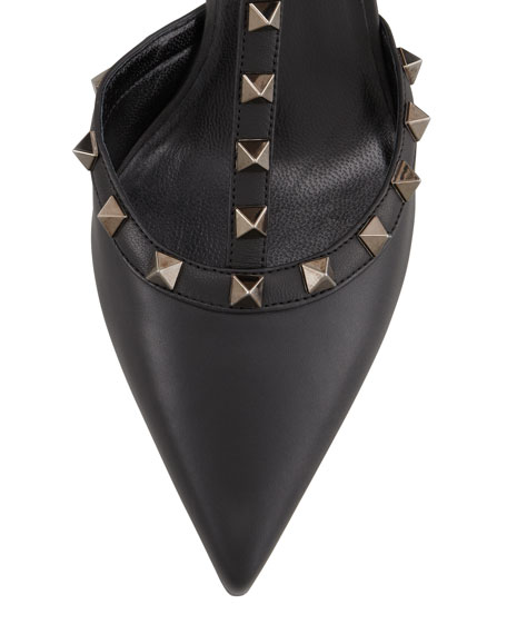 Rockstud Leather Low-Heel Slingback, Black