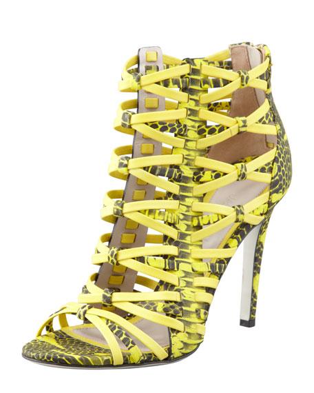 Snake-Print Strappy Cage Sandal