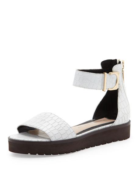 Dyls Croc-Embossed Platform Sandal, White