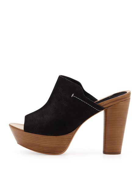 Katy Nubuck Clog Sandal, Black