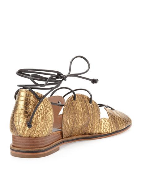 Penny Snake-Print Lace-Up Sandal, Gold