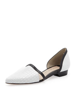 10 Crosby Derek Lam Action Too Embossed d'Orsay Flat, White/Black
