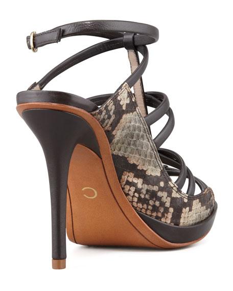Jims Strappy Snake Sandal, Brown