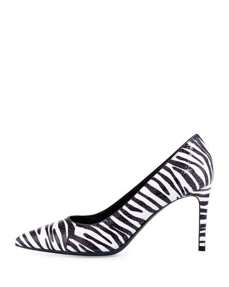 Paris Zebra-Print Snakeskin Pump