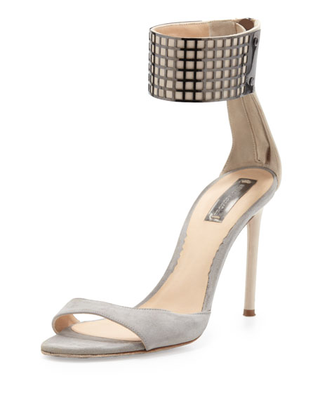 Ankle-Wrap Grid Sandal, Gray/Nude