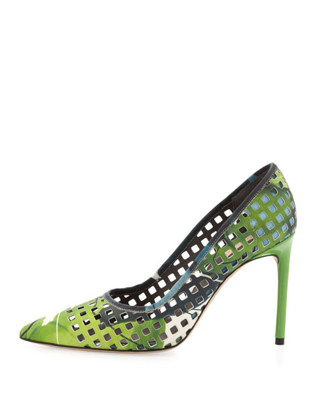 Perforated Floral Pointy Pump