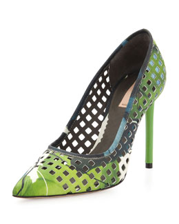 Reed Krakoff Perforated Floral Pointy Pump