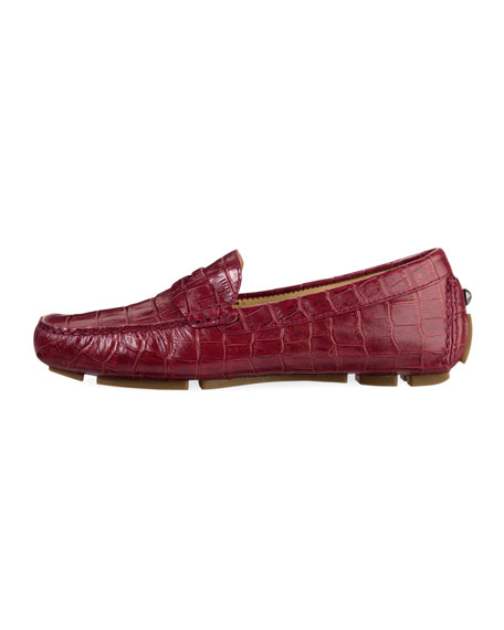 Trillby Croc-Print Driver, Red/Gold