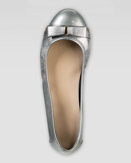 Monica Air Bow Ballerina Flat, Armor Metallic