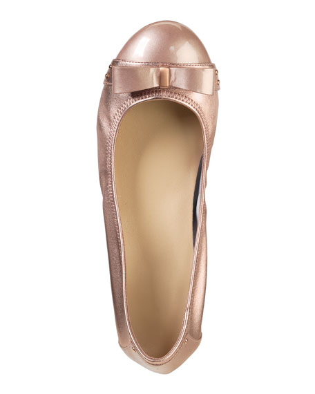Monica Air Bow Ballerina Flat, Rose Gold Metallic