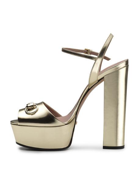 9eee5de44b9 Gucci Claudie Metallic Platform Sandal