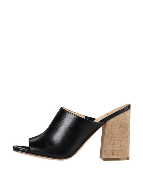 Luci High-Heel Cork Slide, Black