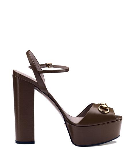 Gucci Claudie Leather Platform Sandal
