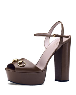 Gucci Claudie Leather Platform Sandal, Brown
