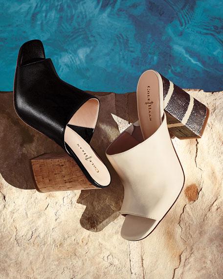 Luci Low-Heel Leather Sandal, Black