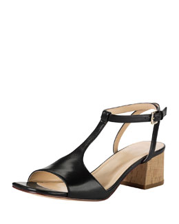 Cole Haan Luci Low-Heel Leather Sandal, Black