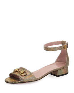 Gucci Liliane Mirrored Leather Flat Sandal