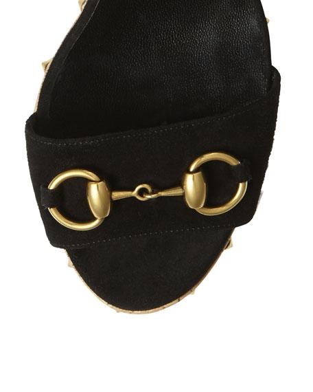 Lilianne Studded Suede Wedge Sandal, Black