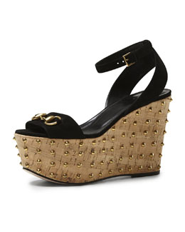 Gucci Lilianne Studded Suede Wedge Sandal, Black