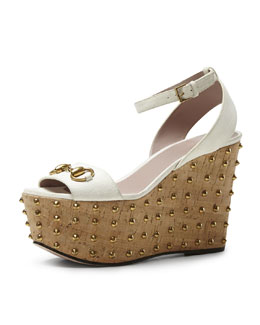 Gucci Lilianne Studded Suede Wedge Sandal, White