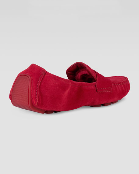 Sadie Deconstructed Shearling Moccasin, Red