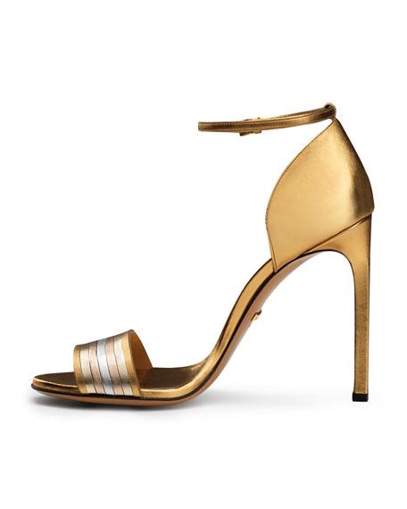 Gucci Cara Metallic Web-Effect Sandal