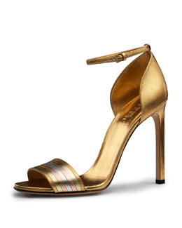 Gucci Cara Metallic Web-Effect Sandal
