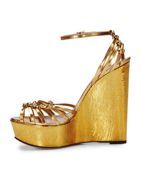 Alice Metallic Knot Cork Wedge, Gold