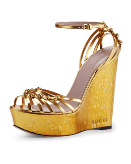 Gucci Alice Metallic Knot Cork Wedge, Gold