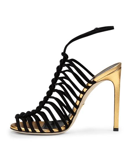 Angelique Corded Suede Sandal, Black