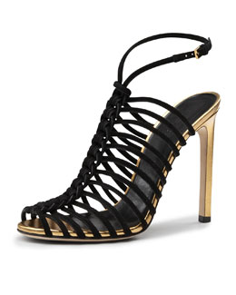 Gucci Angelique Corded Suede Sandal, Black