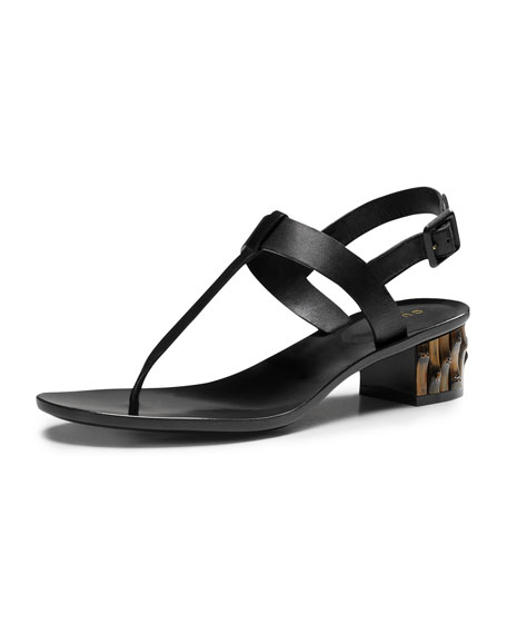 Dahlia Bamboo-Heel Leather Thong Sandal, Black