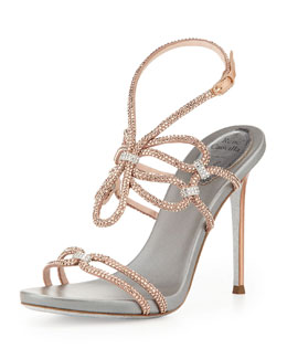 Rene Caovilla Crystal High-Heel Ankle-Wrap Sandal, Rose Gold/Silver