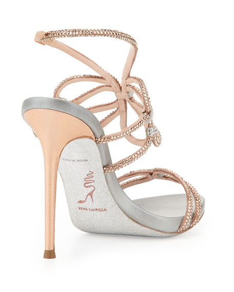 Crystal High-Heel Ankle-Wrap Sandal, Rose Gold/Silver