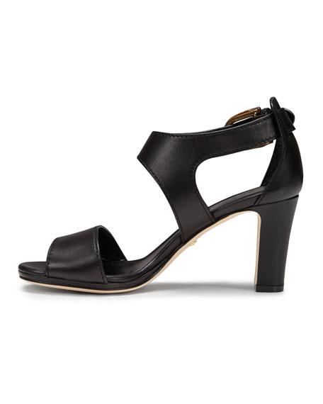 Nadege Mid-Heel Leather Sandal, Black