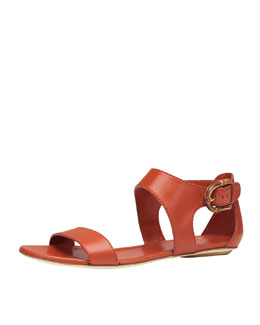 Gucci Nadege Leather Ankle-Wrap Sandal, Orange