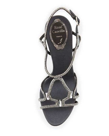 High-Heel Slingback Sandal with Crystals, Black/Silver