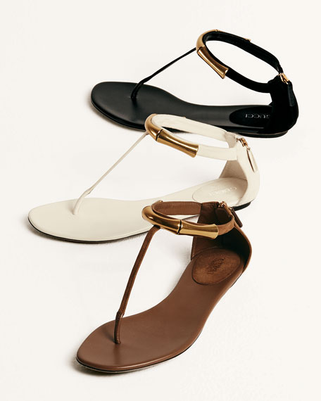 Coraline Bamboo Ankle-Wrap Thong Sandal, Tobacco