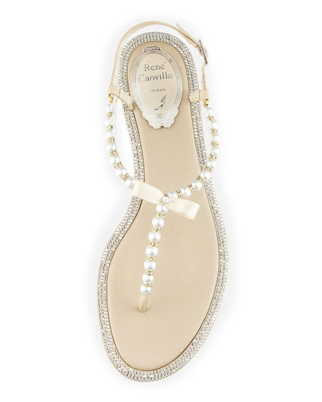 Rene Caovilla Pearly & Crystal Flat Thong Sandal, Champagne