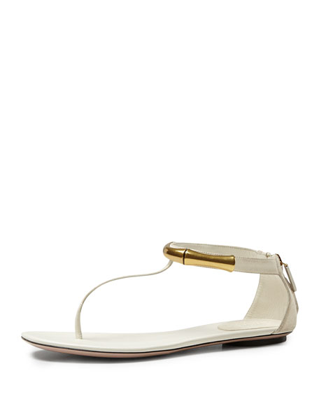 Coraline Bamboo Ankle-Wrap Thong Sandal, Off White