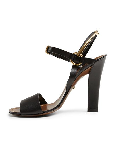 Tess Leather Ankle-Wrap Sandal, Black