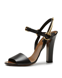 Gucci Tess Leather Ankle-Wrap Sandal, Black