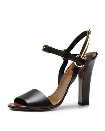 Gucci Tess Leather Ankle-Wrap Sandal, Black
