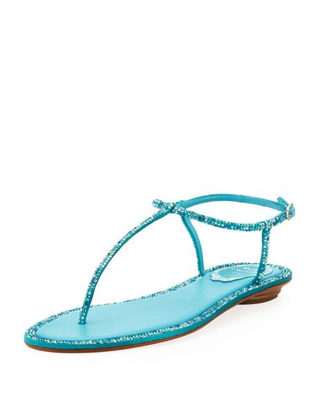 Crystal Flat Thong Sandal, Turquoise