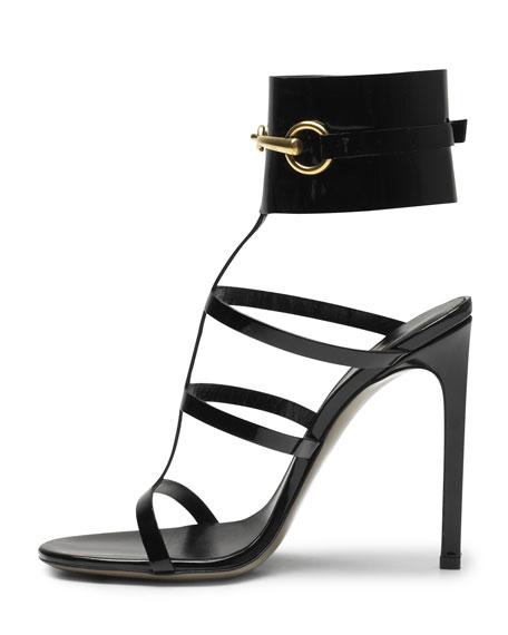 Ursula Patent Ankle-Wrap Cage Sandal, Black
