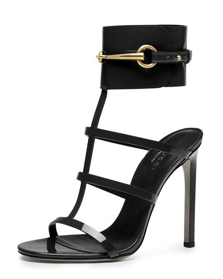 Gucci Ursula Patent Ankle-Wrap Cage Sandal, Black